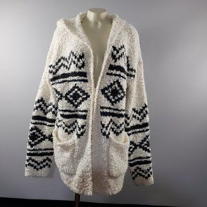 NWT Sonoma Hooded open front long knit cardigan